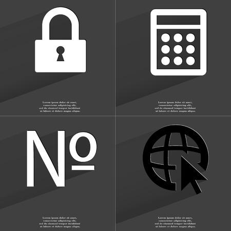 numero: Lock, Calculator, Numero sign, Web icon with cursor. Symbols with long shadow. Flat design. Raster copy