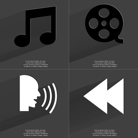 videotape: Note sign, Videotape, Talk, Two arrows media icon. Symbols with long shadow. Flat design. Raster copy