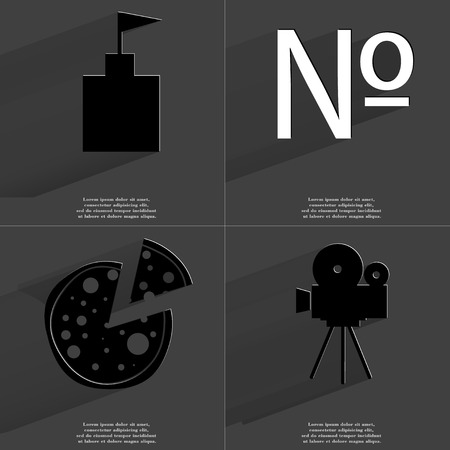 numero: Flag tower, Numero sign, Pizza, Film camera. Symbols with long shadow. Flat design. Raster copy