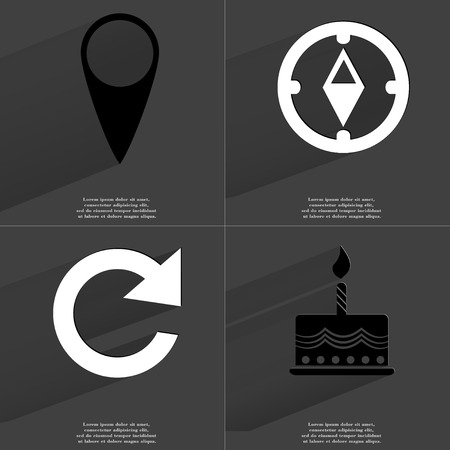 checkpoint: Checkpoint, Compass, Reload icon, Cake. Symbols with long shadow. Flat design. Raster copy Stock Photo