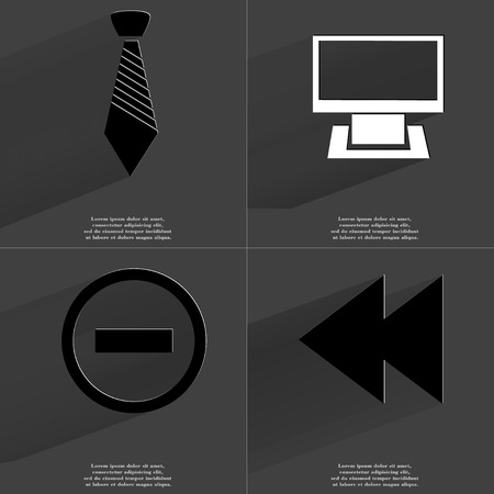 two arrows: Tie, Monitor, Minus sign, Two arrows media sign. Symbols with long shadow. Flat design. Raster copy