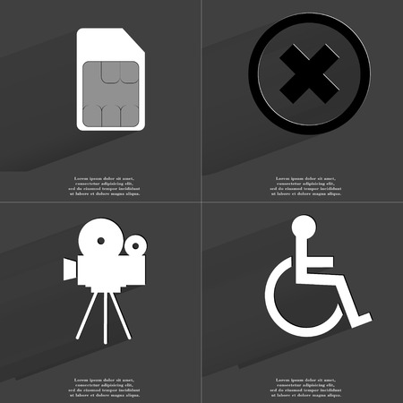 card stop: SIM card, Stop sign, Film camera, Disabled person. Symbols with long shadow. Flat design. Raster copy