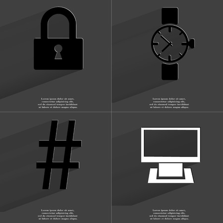 number lock: Lock, Wrist watch, Number sign, Monitor. Symbols with long shadow. Flat design. Raster copy