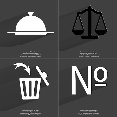 numero: Tray, Scales, Trash can, Numero sign. Symbols with long shadow. Flat design. Raster copy