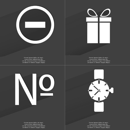 numero: Minus sign, Gift, Numero sign, Wrist watch. Symbols with long shadow. Flat design. Raster copy
