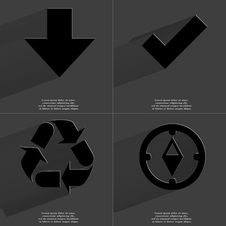 application recycle: Arrow directed down, Tick, Recycling, Compass icon sign. Set of Symbols with Flat design and Long hadows. Raster copy