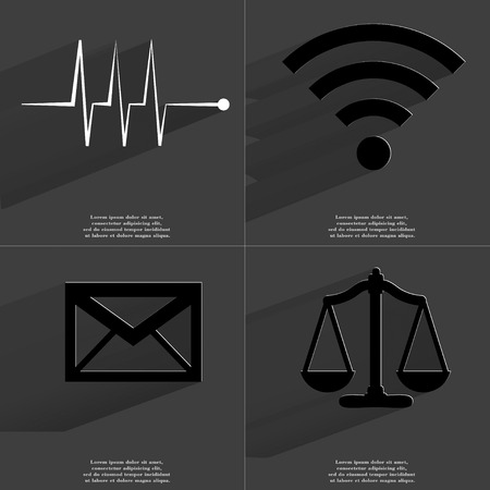 wlan: Pulse, WLAN, Message, Scales icon sign. Set of Symbols with Flat design and Long hadows. Raster copy