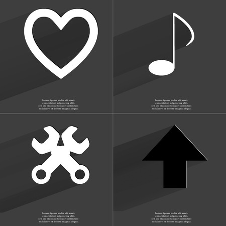 directed: Heart, Note, Wrenches, Arrow directed upwards icon sign. Set of Symbols with Flat design and Long hadows. Raster copy