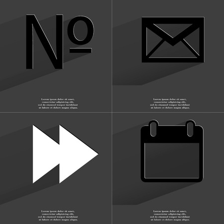 numero: Numero, Message, Two arrows media, Calendar icon sign. Set of Symbols with Flat design and Long hadows. Raster copy