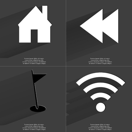 wlan: House, Two arrows media, Golf hole, WLAN icon sign. Set of Symbols with Flat design and Long hadows. Raster copy