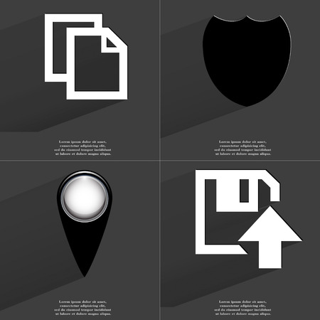 checkpoint: Copy, Badge, Checkpoint, Floppy disk upload icon sign. Set of Symbols with Flat design and Long hadows. Raster copy Stock Photo