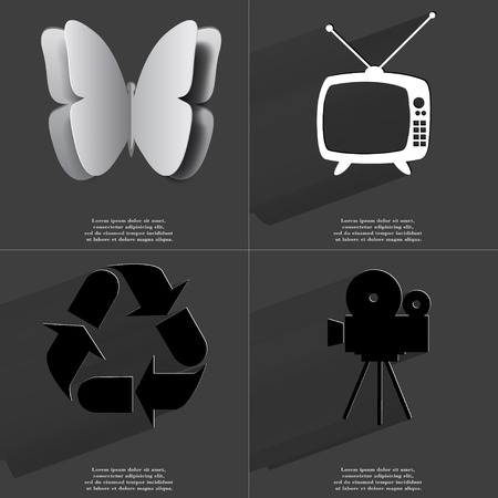 application recycle: Butterfly, Retro TV, Recycling, Film camera icon sign. Set of Symbols with Flat design and Long hadows. Raster copy