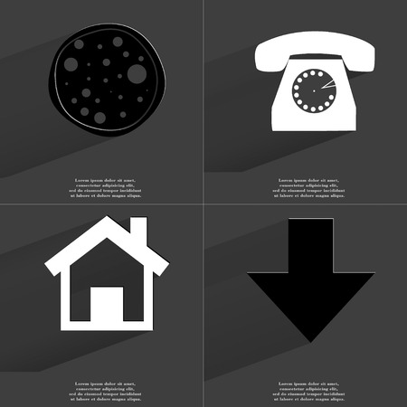 directed: Pizza, Retro phone, House, Arrow directed down icon sign. Set of Symbols with Flat design and Long hadows. Raster copy