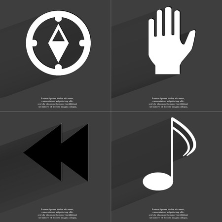two arrows: Compass, Hand, Two arrows media, Note icon sign. Set of Symbols with Flat design and Long hadows. Raster copy