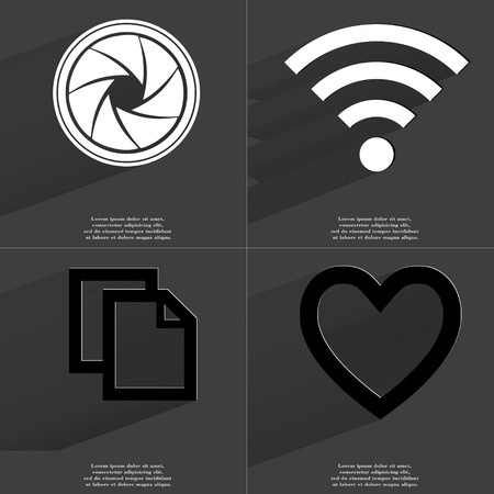 wlan: Lens, WLAN, Copy, Heart icon sign. Set of Symbols with Flat design and Long hadows. Raster copy