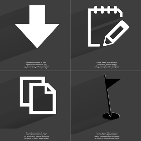directed: Arrow directed down, Notebook, Copy, Golf hole icon sign. Set of Symbols with Flat design and Long hadows. Raster copy