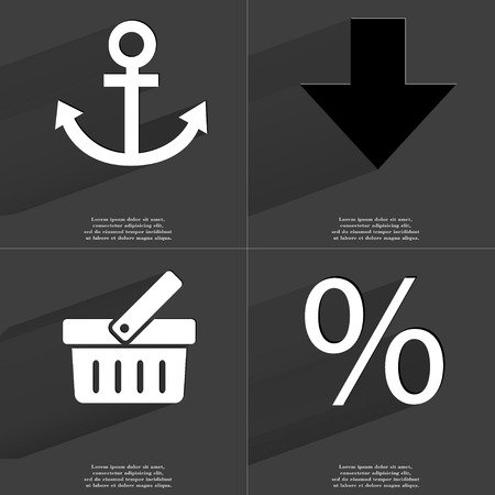 directed: Anchor, Arrow directed down, Basket, Percent icon sign. Set of Symbols with Flat design and Long hadows. Raster copy