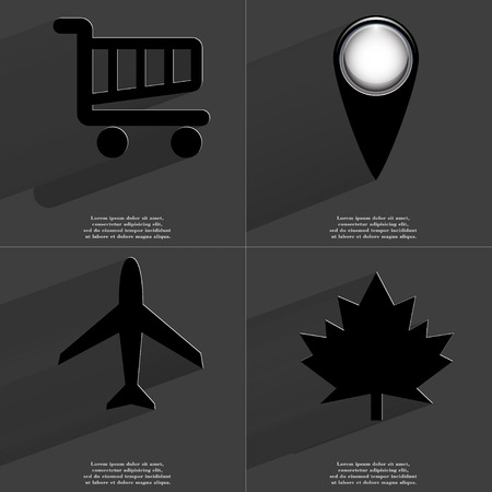 maple leaf icon: Shopping cart, Checkpoint, Airplane, Maple leaf icon sign. Set of Symbols with Flat design and Long hadows. Raster copy