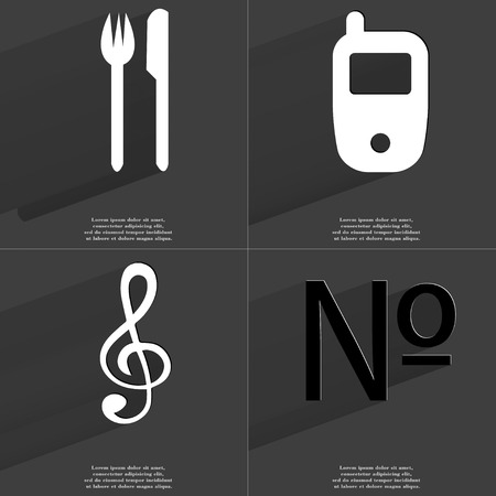 numero: Fork and knife, Mobile phone, Clef, Numero icon sign. Set of Symbols with Flat design and Long hadows. Raster copy