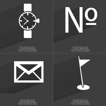 numero: Wrist watch, Numero, Message, Golf hole icon sign. Set of Symbols with Flat design and Long hadows. Raster copy