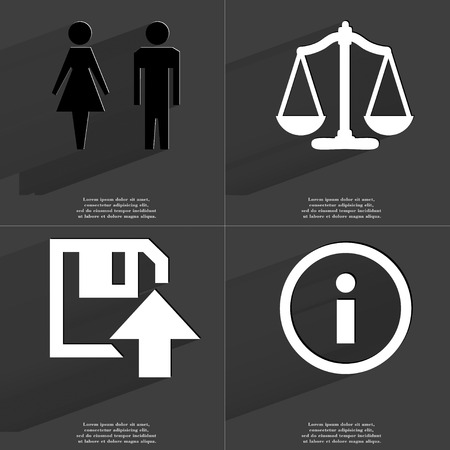 woman on scale: Silhouette of man and woman, scale, Floppy disk upload, info icon sign. Set of Symbols with Flat design and Long hadows. Raster copy