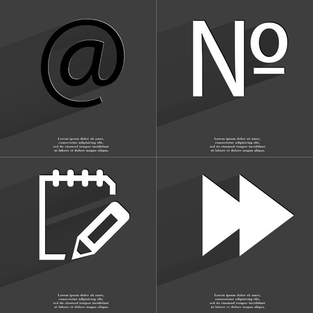 numero: At, Numero, Notebook, Two arrows media icon sign. Set of Symbols with Flat design and Long hadows. Raster copy