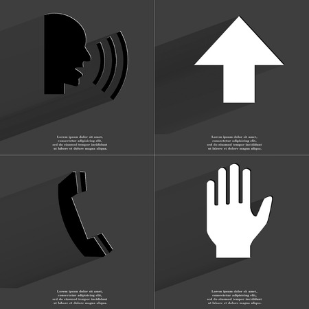 directed: Talk, Arrow directed upwards, Receiver, Hand icon sign. Set of Symbols with Flat design and Long hadows. Raster copy