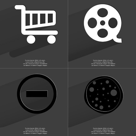 videotape: Shopping cart, Videotape, Minus, Pizza icon sign. Set of Symbols with Flat design and Long hadows. Raster copy