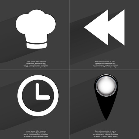 two arrows: Cooking hat, Two arrows media, Clock, Checkpoint icon sign. Set of Symbols with Flat design and Long hadows. Raster copy