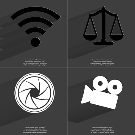 wlan: WLAN, Scales, Lens, Film camera icon sign. Set of Symbols with Flat design and Long hadows. Raster copy