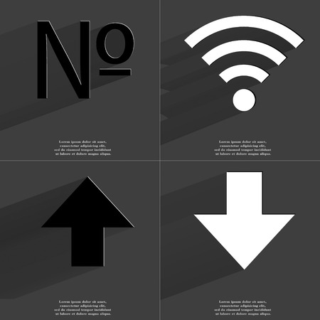 numero: Numero, WLAN, Arrow directed upwards, Arrow directed down icon sign. Set of Symbols with Flat design and Long hadows. Raster copy Stock Photo