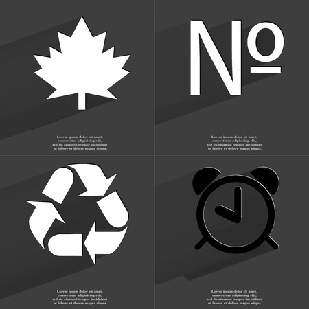 numero: Maple leaf, Numero, Recycling, Alarm clock icon sign. Set of Symbols with Flat design and Long hadows. Raster copy