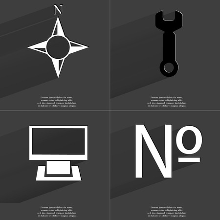 numero: Compass, Wrench, Monitor, Numero icon sign. Set of Symbols with Flat design and Long hadows. Raster copy Stock Photo