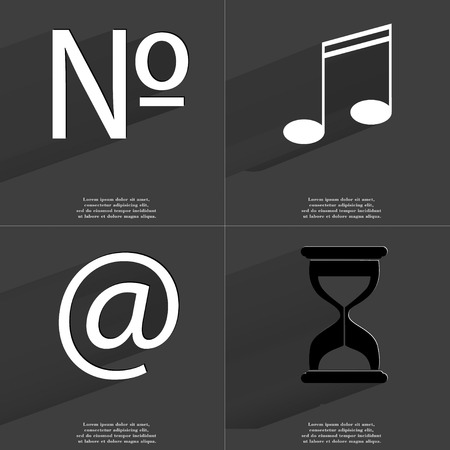 numero: Numero, Note, At, Hourglass icon sign. Set of Symbols with Flat design and Long hadows. Raster copy