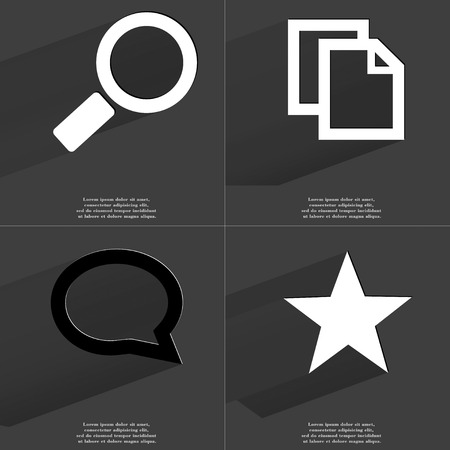 close icon: Magnifying glass, Copy, Chat bubble, Star icon sign. Set of Symbols with Flat design and Long hadows. Raster copy Stock Photo