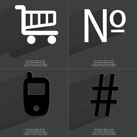 numero: Shopping cart, Numero, Mobile phone, Number icon sign. Set of Symbols with Flat design and Long hadows. Raster copy Stock Photo