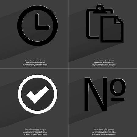numero: Clock, Tasklist, Tick, Numero icon sign. Set of Symbols with Flat design and Long hadows. Raster copy