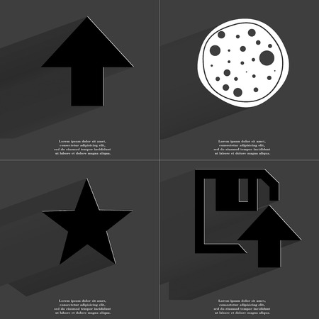 directed: Arrow directed upwards, Pizza, Star, Floppy disk upload icon sign. Set of Symbols with Flat design and Long hadows. Raster copy