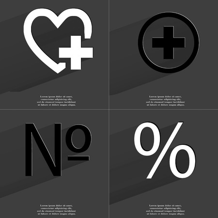 numero: Heart with plus, Numero, Percent icon sign. Set of Symbols with Flat design and Long hadows. Raster copy