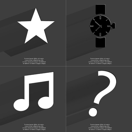 note of exclamation: Star, Wrist watch, Note, Exclamation mark icon sign. Set of Symbols with Flat design and Long hadows. Raster copy