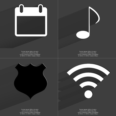 wlan: Calendar, Note, Police badge, WLAN icon sign. Set of Symbols with Flat design and Long hadows. Raster copy Stock Photo