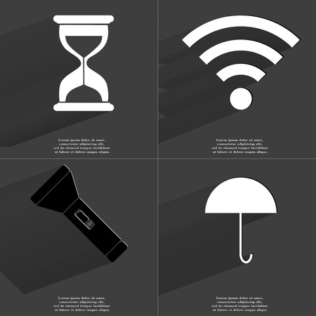 wlan: Hourglass, WLAN, Flashlight, Umbrella icon sign. Set of Symbols with Flat design and Long hadows. Raster copy