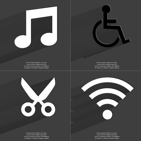 wlan: Note, Disabled person, Scissors, WLAN icon sign. Set of Symbols with Flat design and Long hadows. Raster copy Stock Photo