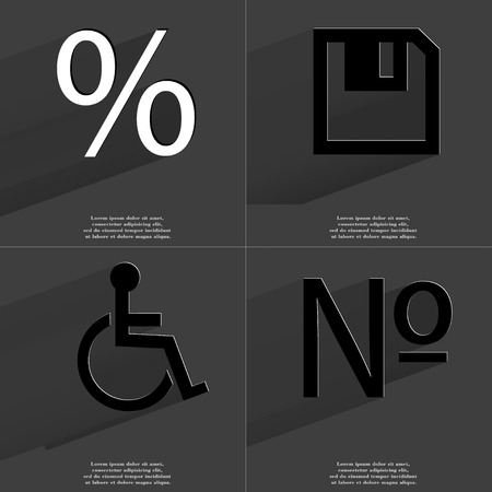 numero: Percent, Floppy disk, Disabled person, Numero icon sign. Set of Symbols with Flat design and Long hadows. Raster copy