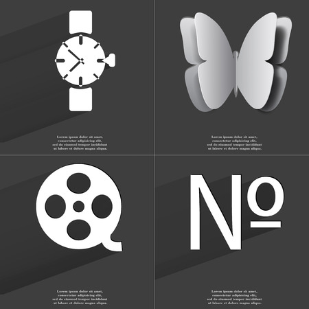 numero: Wrist watch, Butterfly, Videotape, Numero icon sign. Set of Symbols with Flat design and Long hadows. Raster copy