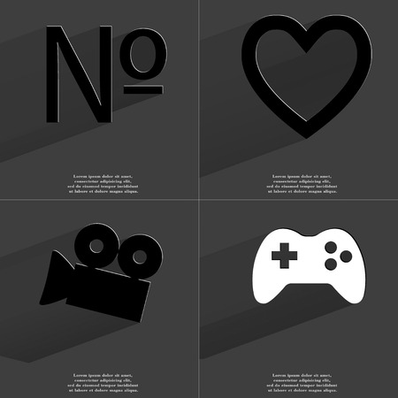 numero: Numero, Heart, Film camera, Gamepad icon sign. Set of Symbols with Flat design and Long hadows. Raster copy Stock Photo