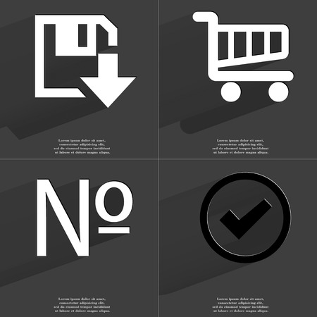 numero: Floppy disk download, Shopping cart, Numero, Tick icon sign. Set of Symbols with Flat design and Long hadows. Raster copy
