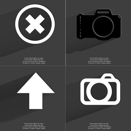 directed: Stop, Camera, Arrow directed upwards icon sign. Set of Symbols with Flat design and Long hadows. Raster copy Stock Photo