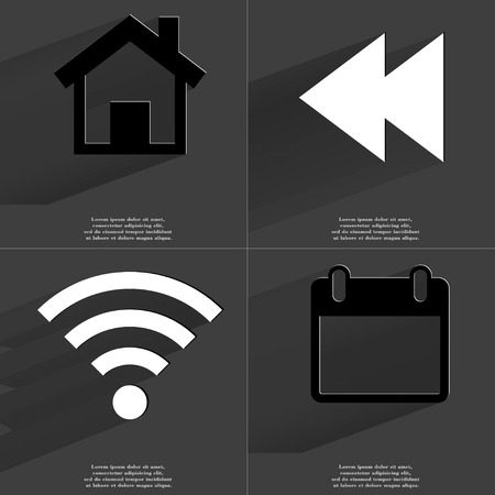 wlan: House, Two arrows media, WLAN, Calendar icon sign. Set of Symbols with Flat design and Long hadows. Raster copy Stock Photo
