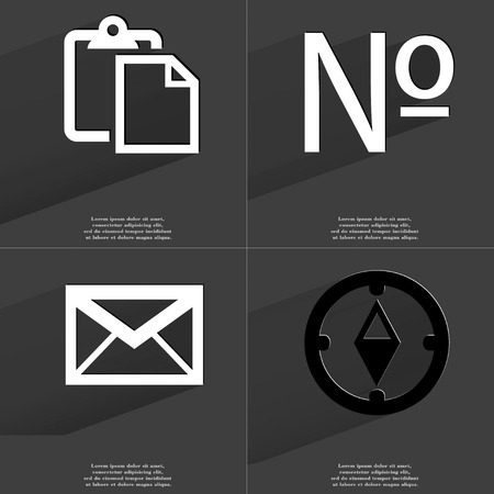 numero: Tasklist, Numero, Message, Compass icon sign. Set of Symbols with Flat design and Long hadows. Raster copy